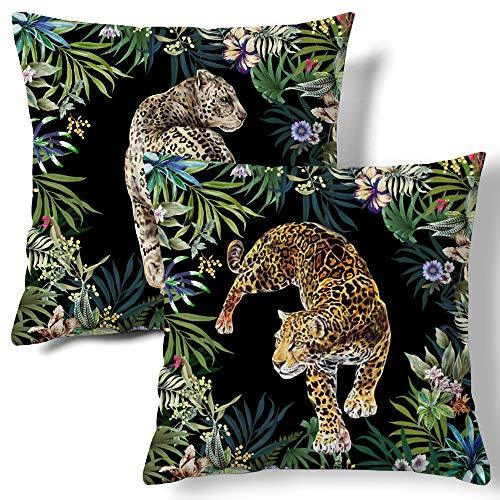 HMS Happy Memories Contrast Cheetah Leopard Printed Throw Velvet Pillow Covers Decorative Pillowcase Soft Cushion Covers for Bedroom Livingroom Sofa Dorm Farmhouse 18 x 18 Inch 2 PCS (Tape 2)
