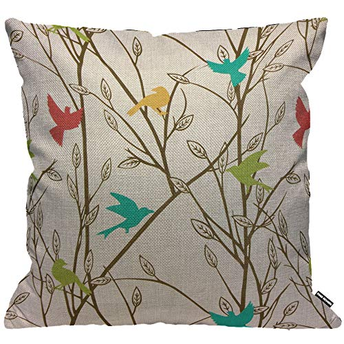 HGOD DESIGNS Cushion Cover Bird Colorful Magpie And Swallow Bird On The Tree Light Gray Throw Pillow Cover Home Decorative for Men/Women/Boys/Girls living room Bedroom Chair 18X18 Inch Pillowcase