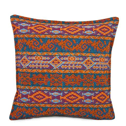 A Kilim Cushion Cover Turkish Moroccan Style Traditional Cushion Cover Navy and Orange Design 45cm x 45cm