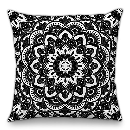 Moyun Black & White Mandala Throw Pillow Case Series Decorative Bohemian Hippie Cushion Cover Psychedelic Intricate Floral Indian Sofa Bed Decor 18' x 18'