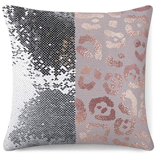 QUEMIN Leopard Print Rose Gold Elegant Pink Square Decorative Throw Pillow Case, Fashion Style Zippered Cushion Pillow Cover 15.7 x 15.7 inch