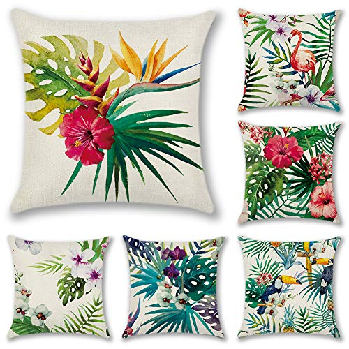 Artscope 6 Pack Home Decorative Square Cushion Covers Soft Polyester Linen Throw Pillow Covers Pillowcases with Invisible Zipper for Sofa Car Bedroom, 45 x 45 cm (Flamingo with Tropical Flower)