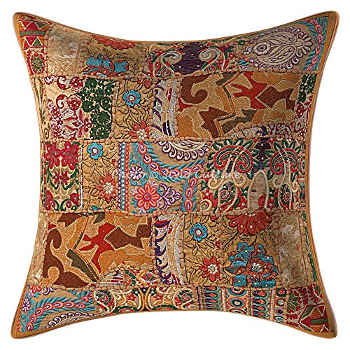 Stylo Culture Ethnic Decorative Large Cushion Covers 60 x 60 Home Decor Khaki Vintage Fabric Patchwork Cotton Living Room Couch Throw Pillow Cover Floral 60x60 cm Pillow Case