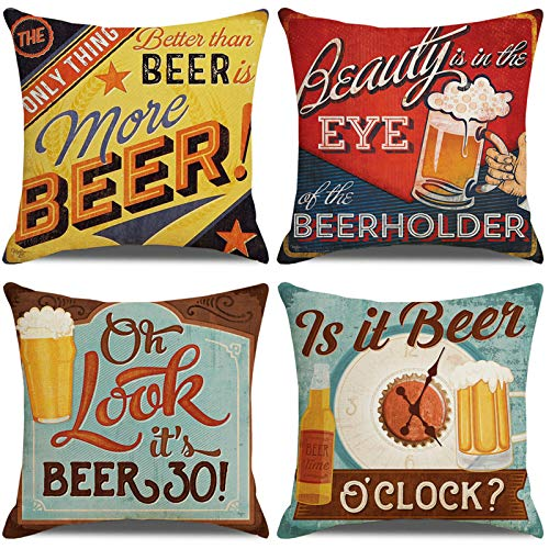 LAXEUYO Pack of 4 Cushion Covers, Retro Beer Pattern Pattern Cotton Linen Decorative Throw Pillow Covers Pillow Cases for Sofa 18x18 inches