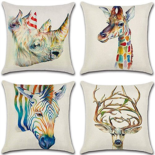 HuifengS Linen Throw Cushion Pillow Covers Square Pillowcase Animal Sika Deer Rhinoceros Giraffe Zebra Decorative for Sofas Beds Chairs Cushion Cover Set of 4, 18 x 18 Inch