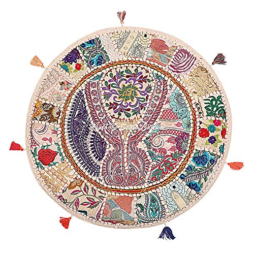 Stylo Culture Ethnic Bohemian Floor Cushion Meditation Throw Pillow Cover White 70x70 cm Vintage Patchwork Lounge Round Large 28 inch Lounge Cotton Embroidered Couch Sitting Cover