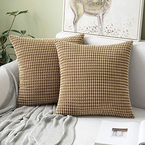 Miulee Corduroy Soft Solid Decorative Square Throw Pillow Case Big Kernels Corn Striped Thick Cushion Cover for Sofa Bedroom 18 x 18 Inch 45 x 45Cm Brown Set of 2