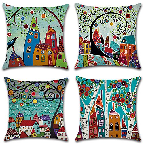 HuifengS Linen Throw Cushion Pillow Covers Square Pillowcase Rural Style Decorative for Sofas Beds Chairs Cushion Cover Set of 4, 18 x 18 Inch