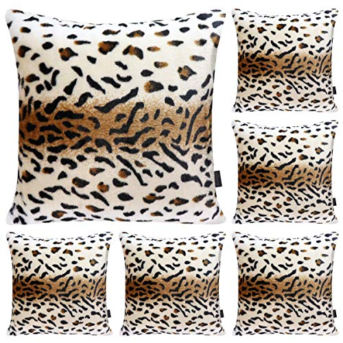 Hodeacc 6 Pack Leopard Printed Series Pillow Covers,Soft Plush Animal Theme Faux Fur Decorative Throw Pillowcase Home Decor Cushion Cover,18x18 inch (CASE ONLY)