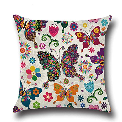 Gemini_mall 18' x 18' Cushion Covers, Colorful Butterfly Throw Pillow Case Square Cushion Cover Home Decor (#3)