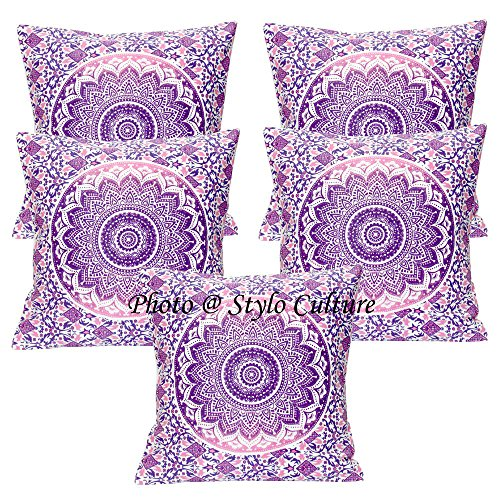Stylo Culture Ethnic Throw Pillows Covers Purple Printed Floral Throw Cushion Covers Cotton Square Traditional Mandala Ombre 40x40 cm Cushion Covers (Set of 5 Pcs)