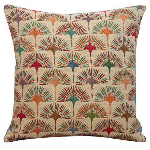 Linen Loft Multicoloured Retro Dandelion Tapestry Cushion. Double Sided Square Cover. Heavyweight fabric. Geometric floral design. (43cm x 43cm Cover only)