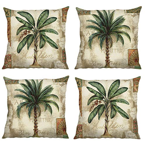 Bonhause Tropical Palm Tree Cushion Covers 18 x 18 Inch Set of 4 Vintage Green Decorative Throw Pillow Covers Polyester Linen Pillowcases for Sofa Couch Car Bedroom Home Décor, 45cm x 45cm