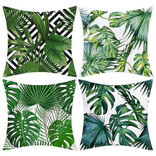 JOMMIE CHEN Tropical Cushion Covers 18x18, Green Leaf Pattern Pillow Covers 4 Pack Soft Velvet Cushions for Sofa, Bed and Car(Green Leaf)
