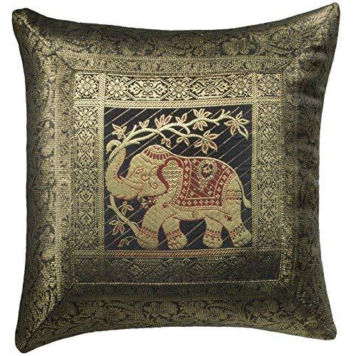 Indian Arts Fair Trade Indian Brocade Work Elephant Cushion Cover Handloom 45 x 45cm (Black)