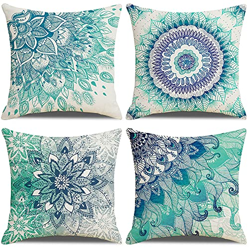 LAXEUYO Pack of 4 Cushion Covers, Bohemian Mandala Pattern Cotton Linen Decorative Throw Pillow Covers Pillow Cases for Sofa 18x18 inches