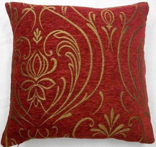 Supplied by Maple Textiles Luxurious Red Wine Chenille Cushion Cover with Gold Regency Design to fit a 18'x18' Pad Free P & P