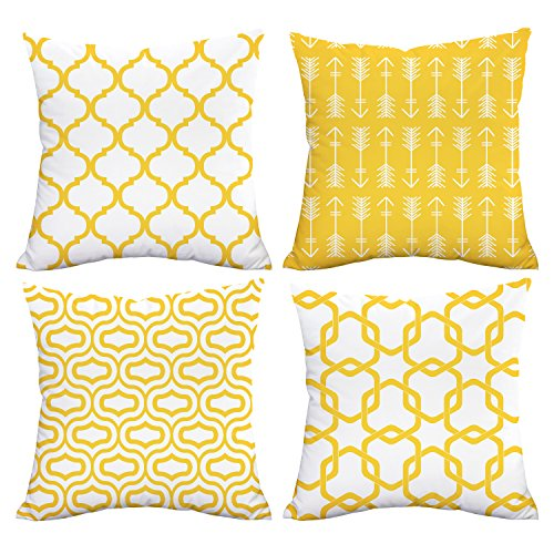 Alishomtll Cushion Covers 18x18 Inches Soft Plush Throw Pillow Covers Geometric 45cm x 45cm Polyester for Sofa Bedroom Pack of 4, Yellow