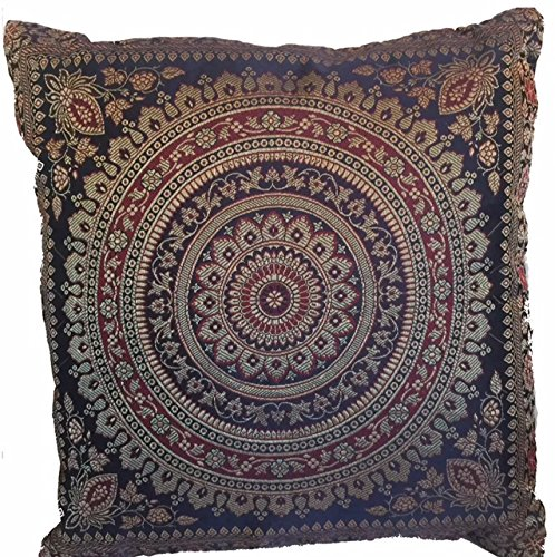 KIKAN Indian patchwork mandala sari ethnic silk Banarsi cushion covers mandala 16'x16' (navy)