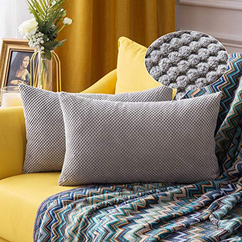 MIULEE Corduroy Granule Fabric Square Throw Pillow Case Solid Cushion Cover Sham Home for Sofa Chair Couch Bedroom Decorative Pillowcases 12x20 inch 30x50cm 2 Pieces Silver