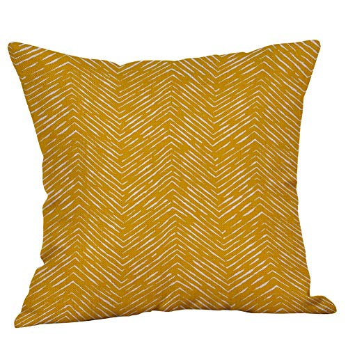 Watopi Mustard Geometric Pillowcase Zig Zag Modern Yellow Classic Printing Abstract Cushion Cover Soft Cotton Linen 45 x 45cm 1 PC, Invisable Zipper for Gifts Bed Sofa Home Décor