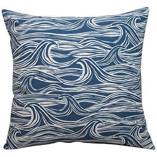 Linen Loft Ocean Waves Cushion. Double Sided Nautical Seaside Design. 17x17 (43cm) Square. 100% Cotton. Navy Indigo Blue Abstract Design. (43cm x 43cm Cover only)