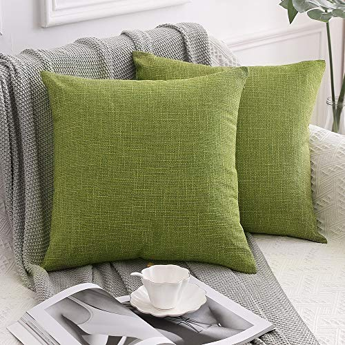 MIULEE Set of 2 Cross Shape Faux Linen Square Throw Pillow Case Cushion Cover Home for Sofa Chair Couch/Bedroom Decorative Pillowcase 26 x 26 Inch 65 x 65cm Green