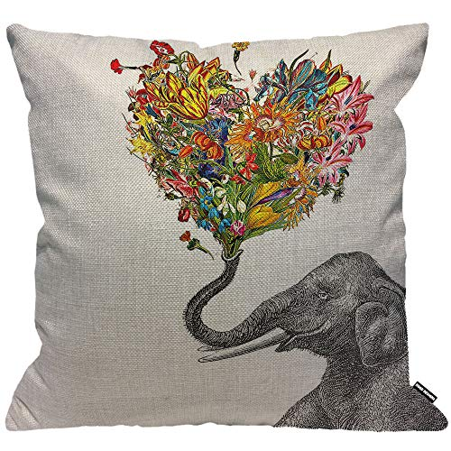 HGOD DESIGNS Elephant Cushion Cover,Elephant with Colorful Love Style Flower Throw Pillow Case Home Decorative for Men/Women Living Room Bedroom Sofa Chair 18X18 Inch Pillowcase 45X45cm