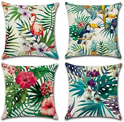 Fullfun Green Cushion Covers Leaf, Tropical linen pillow covers with flamingo, Pack of 4 square throw jungle pillowcase, For sofa, couch, barrel chair, bedroom, outdoor cushions and Home Décor