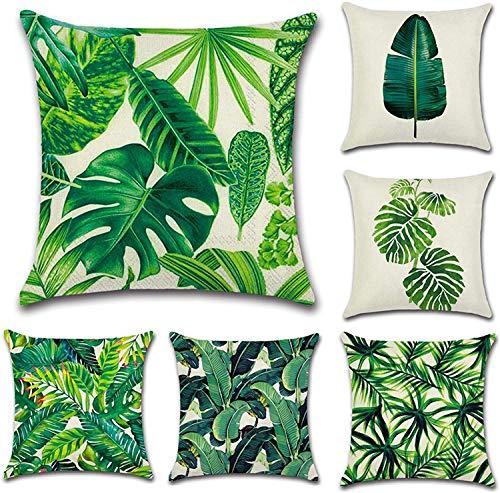 longsheng Cushion Cover Cotton Linen Cushion Cover Pillowcase Sofa Car Cushion Home Bed Decor 45 x 45cm, Set of 6 (Green Leaf)