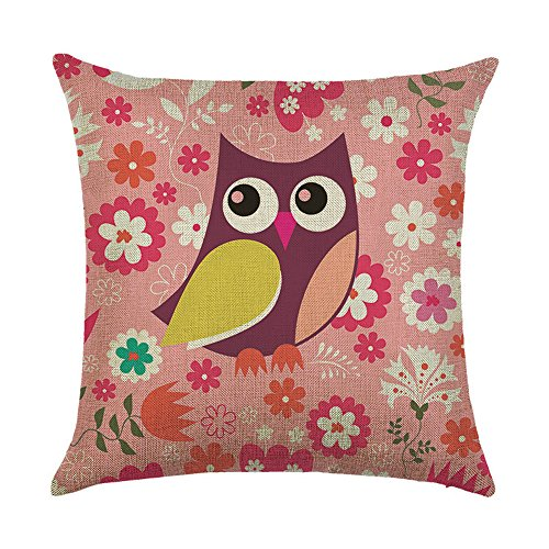 WEIANG Cute Bird Cartoon Owl Cushion Covers Thick Cotton Linen Double-sided Animal Square Pillow Case Cushion For Home Chair Sofa Bed Shop Bar Club Children's Room Decor