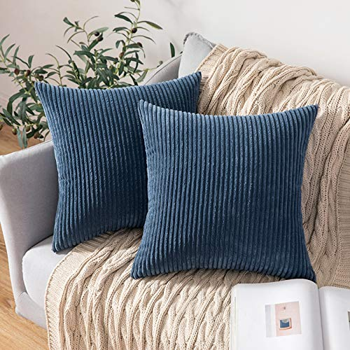 MIULEE Set of 2 Striped Corduroy Square Throw Pillow Case Soft Cushion Covers Sham Home for Sofa Couch/Bedroom Decorative Fluffy Large Pillowcases 18x18 Inch 45x45cm Dark Blue