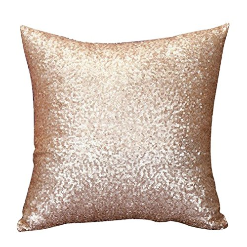 DEELIN Solid Color Glitter Sequins Throw Pillow Case Cafe Home Decor Cushion Covers (No Pillow Insert) (Gold)