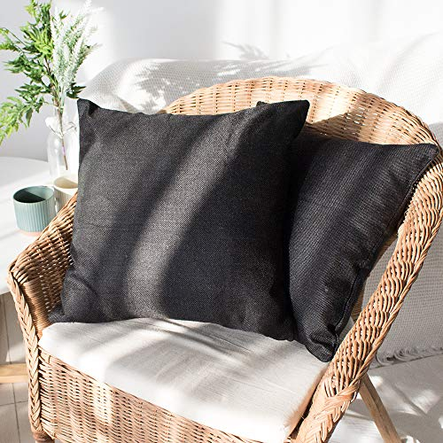 Sweet Forest Linen Cushion Cover,2 Pack Decorative Square Throw Pillow Case (45x45 cm/18''x18''),Cushion Pillowcase for Living-room Sofa Couch Bedroom with Invisible Zipper—Black