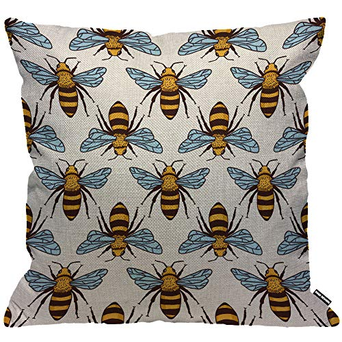 HGOD DESIGNS Cushion Cover Bees Honey Bee Fly Yellow Throw Pillow Cover Home Decorative for Men/Women/Boys/Girls living room Bedroom Sofa Chair 18X18 Inch Pillowcase