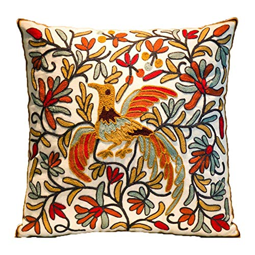 ZUODU Bird Cushion Cover 18x18 or 45x45cm Hand Made National Embroidery Bohemian Housewarming Car Home Decoration Cushion Cover/Throw Pillow Cover (Pattern-18)