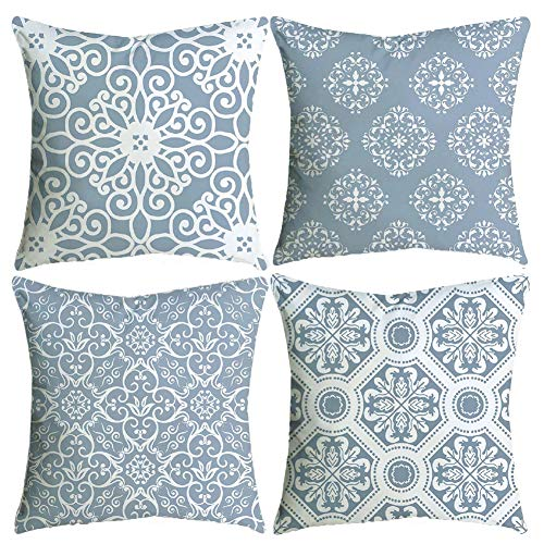 BCKAKQA Throw Pillow Covers 18 x 18 inch Grey Vintage Mandala Cushion Covers Soft Polyester Square Decorative Throw Pillow Case for Living Room Sofa Couch Bed Pillowcases 45cm x 45cm Set of 4