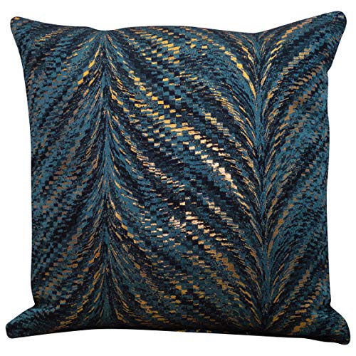 Linen Loft Luxury Metallic Feather Fan Cushion Cover in Teal Blue with Reflective Copper and Gold Detailing. Double Sided, 17x17 Square Pillowcase. Art Deco Inspired Design. Handmade in the UK.