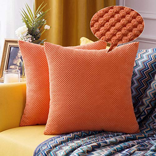 MIULEE Halloween Decoration Corduroy Granule Throw Pillow Covers Soft Pellets Solid Decorative Square Cushion Case for Sofa Bedroom Orange 16'x16'2 Pieces