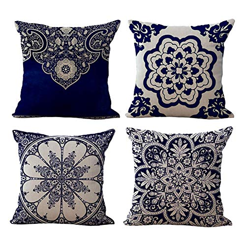 SEVEN HITECH Cushion Covers 18x18 Inch Cotton Linen Throw Pillowcases Square Decorative Set of 4 for Sofa Living Room Bedroom Vintage Style 45x45cm,Navy