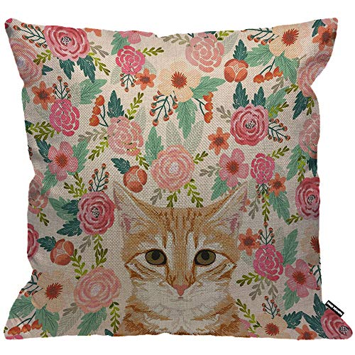 HGOD DESIGNS Cushion Cover Orange Portrait Tabby Cat Spring Florals Cute Lady Person,Throw Pillow Case Home Decorative for Men/Women Living Room Bedroom Sofa Chair 18X18 Inch Pillowcase 45X45cm