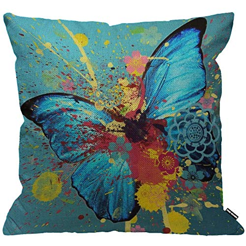 HGOD DESIGNS Cushion Cover Blue Butterfly Fly Splash Red Yellow Throw Pillow Cover Home Decorative for Men/Women/Boys/Girls living room Bedroom Sofa Chair 18X18 Inch Pillowcase