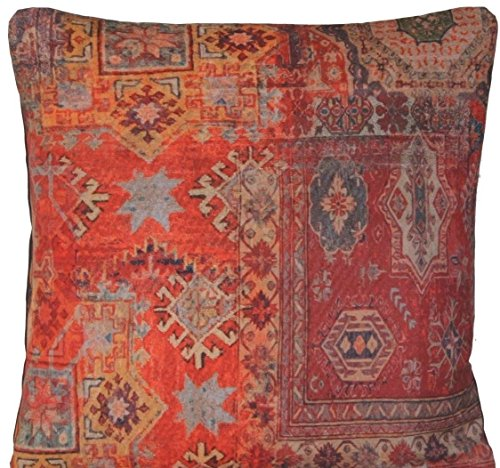 Arcobaleno London 18' Rug Cushion Cover Scatter Red Printed Kilim Pattern Design B Oriental Decor Throw Pillow Case Square