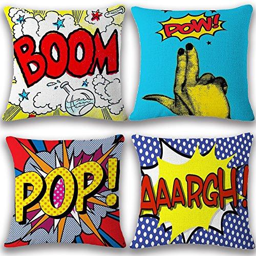 JOTOM Cushion Covers Decorative Square Throw Pillow Cover Sofa Car Pillowcase for Outdoor Home Bed Decor 45cm x 45cm,Set of 4 (BOOM POP)