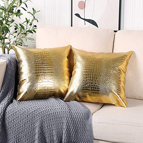 Artscope Crocodile Skin Thick & Soft Faux Leather Pillow Covers Dyed Crocodile Faux Leather Both Sides Decorative for Couch Modern Minimalist Waterproof Pillow Cover 18 X 18 Inches Pack of 2 (Golden)