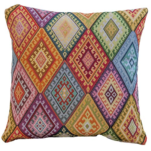 Linen Loft Traditional Turkish Kilim Inspired Cushion Cover. 17' x 17' Square Pillow Case. Heavyweight Woven Kilim Fabric Diamond Pattern Tapestry.