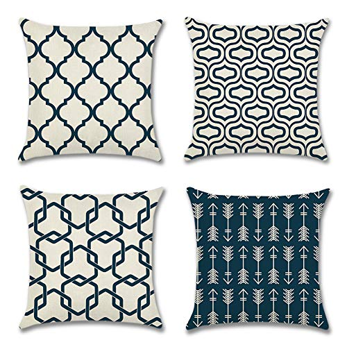Artscope Set of 4 Soft Polyester Linen Cushion Covers Simple Geometric Style Throw Pillow Covers Pillowcase for Sofa Car Home Decor 45 x 45 cm (Navy Blue)