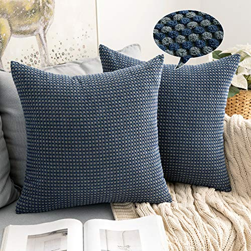 MIULEE Corduroy Granule Fabric Square Bicolor Throw Pillow Case Solid Cushion Cover Sham Home for Sofa Chair Couch Bedroom Decorative Pillowcases 24 x 24 Inch 60 * 60cm Navy-blue