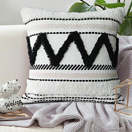 Dremisland Tasseled Cushion Covers Bohemian Indian Embroidered Decorative Square Throw Pillow Case Woven Pillowcases for Couch Livingroom Sofa Bed with Invisible Zipper 18x18 inch (Beige)