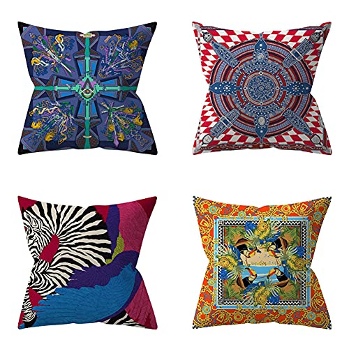 Cushion Covers 70x70cm/28x28in Bird Plant Set of 4 - Cotton Linen Throw Pillow Case Soft Sofa Bed Chair Cushion Covers Square Pillowcase,for Livingroom Office Car Bedroom Decorative Q639